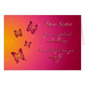 Cartão Feliz aniversario da cara irmã