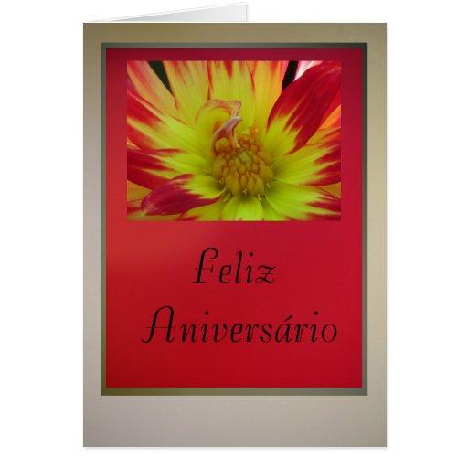 Cartão - Feliz Aniversário - Dalia Amarelo-Vermelh