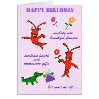 Cartão Feliz aniversario dos lagostins de Cajun