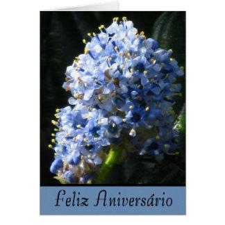 Cartão - Feliz Aniversário - Flor Azul