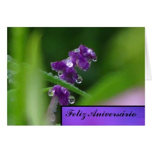 Cartão - Feliz Aniversário - Flor Púrpura