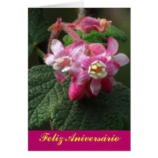 Cartão - Feliz Aniversário - Flor Rosa