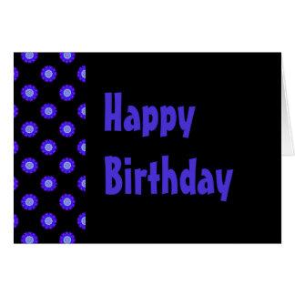 Cartão feliz aniversario floral azul