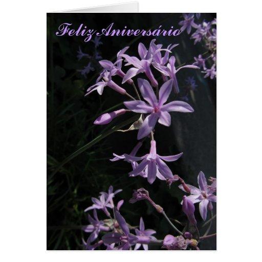 Cartão - Feliz Aniversário - Flores Violetas