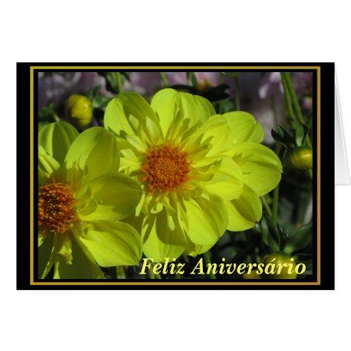 Cartão - Feliz Aniversário - Las Dalias Amarillas