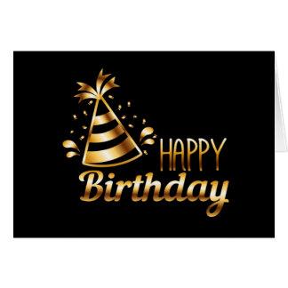 Cartão Feliz aniversario - preto & ouro 3