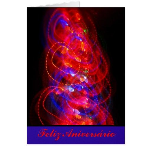 Cartão - Feliz Aniversário - Roja y Azul