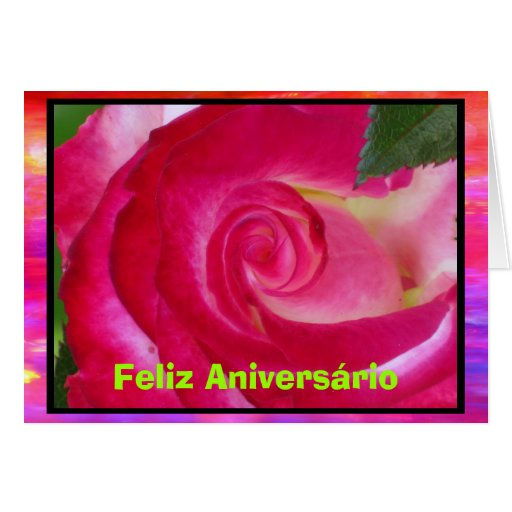 Cartão - Feliz Aniversário - Rosa rosa
