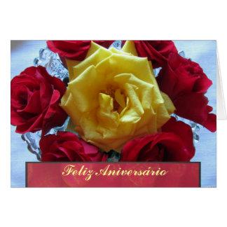 Cartão - Feliz Aniversário - Rosas Amarillas y Roj