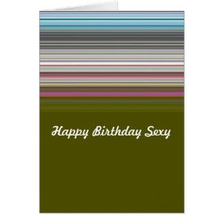 """Cartão Feliz aniversario """"sexy"""" listrado"""