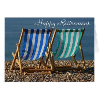 Cartão feliz da aposentadoria de Deckchairs