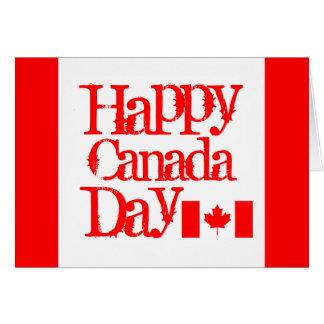 Cartão feliz do dia de Canadá com bandeira