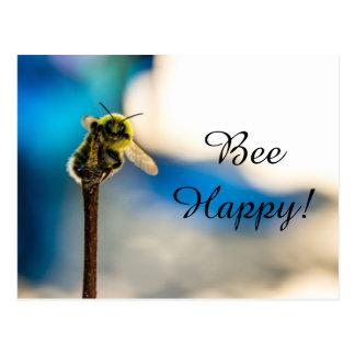 Cartão feliz do zangão da abelha