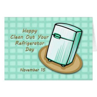 Cartão Feliz limpe para fora seu dia do refrigerador