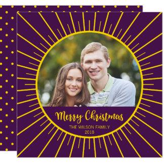 Cartão Feliz Natal amarelo roxo vibrante de Starburst