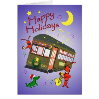 Cartão Feliz Natal do carro da rua de Nova Orleães