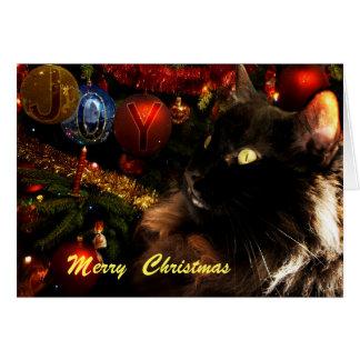 Cartão Feliz Natal do gato preto