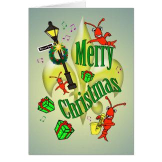 Cartão Feliz Natal temático de Nova Orleães