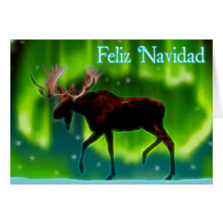 Cartão Feliz Navidad - alce da aurora boreal
