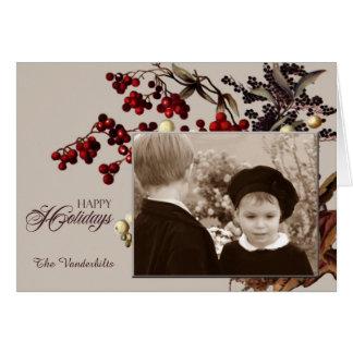Cartão Feriado da foto do visco do vintage
