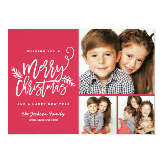 Cartão Feriado moderno 3-Photo do Natal do roteiro da