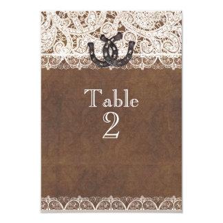 Cartão Ferraduras rústicas & números da mesa do país do