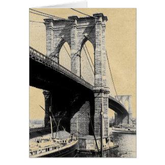 Cartão Ferryboats 1896 da ponte de Brooklyn