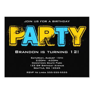 Cartão Festa de aniversário amarela e azul do Grunge