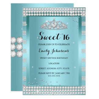 Cartão Festa de aniversário azul da tiara da faísca da