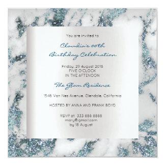 Cartão Festa de aniversário azul das cinzas do mármore do