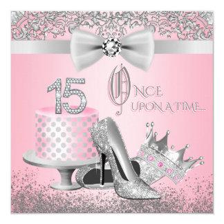 Cartão Festa de aniversário cor-de-rosa e de prata de