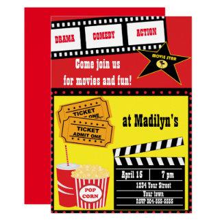 Cartão Festa de aniversário da noite de cinema