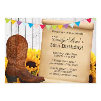 Cartão Festa de aniversário da vaqueira do país & da