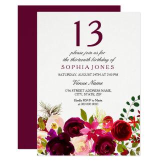 Cartão Festa de aniversário das flores de Borgonha a 13a