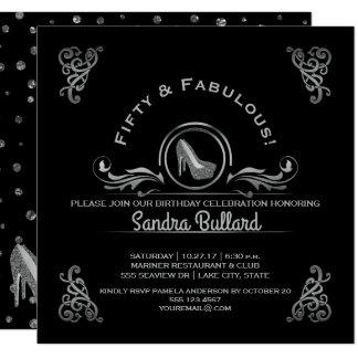 Cartão Festa de aniversário de prata fabulosa de