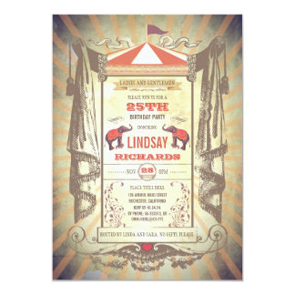 Cartão Festa de aniversário do carnaval do circo ou do