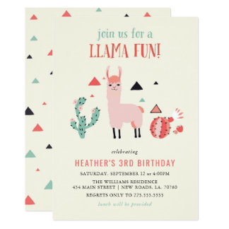 Cartão Festa de aniversário do divertimento do lama
