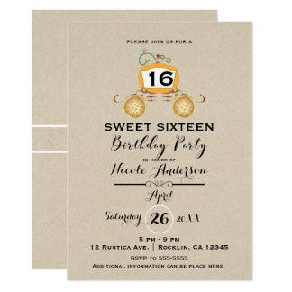 Cartão Festa de aniversário do doce 16 de Kraft da