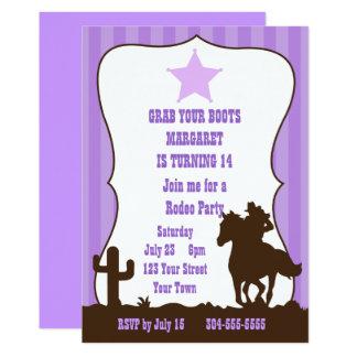 Cartão Festa de aniversário do rodeio da vaqueira