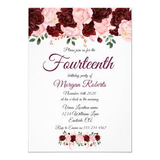 Cartão Festa de aniversário do rosa do rosa de Borgonha a