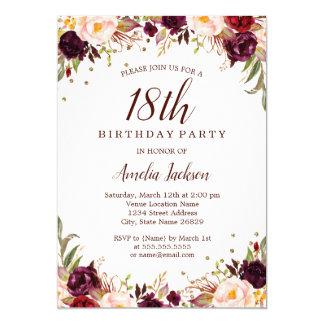 Cartão Festa de aniversário floral de Borgonha do ouro