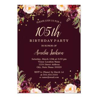 Cartão Festa de aniversário floral elegante de Borgonha