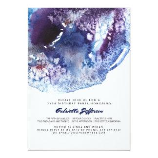 Cartão Festa de aniversário moderna da aguarela do azul