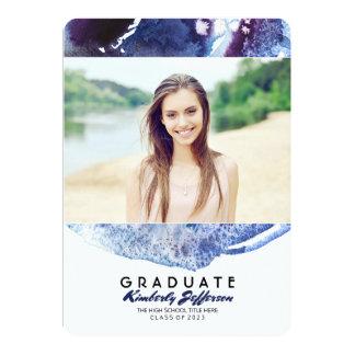 Cartão Festa de formatura da foto da aguarela do azul de