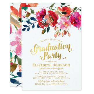 Cartão Festa de formatura floral elegante da aguarela