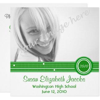 Cartão Festa de formatura - o verde & o branco convidam