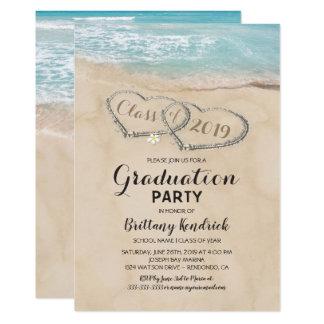 Cartão Festa de formatura tropical da praia do vintage
