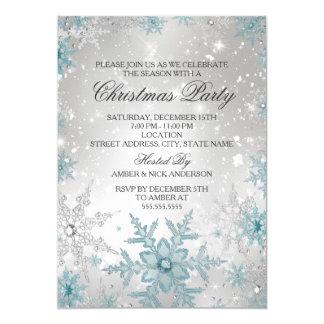 Cartão Festa de Natal de cristal azul & de prata do floco