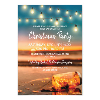Cartão Festa de Natal tropical da praia do por do sol