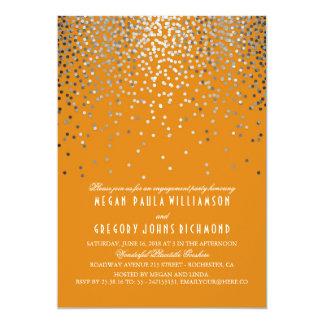 Cartão Festa de noivado alaranjada e de prata